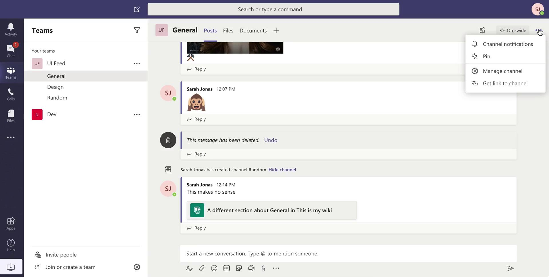 Notification settings on Microsoft Teams video screenshot