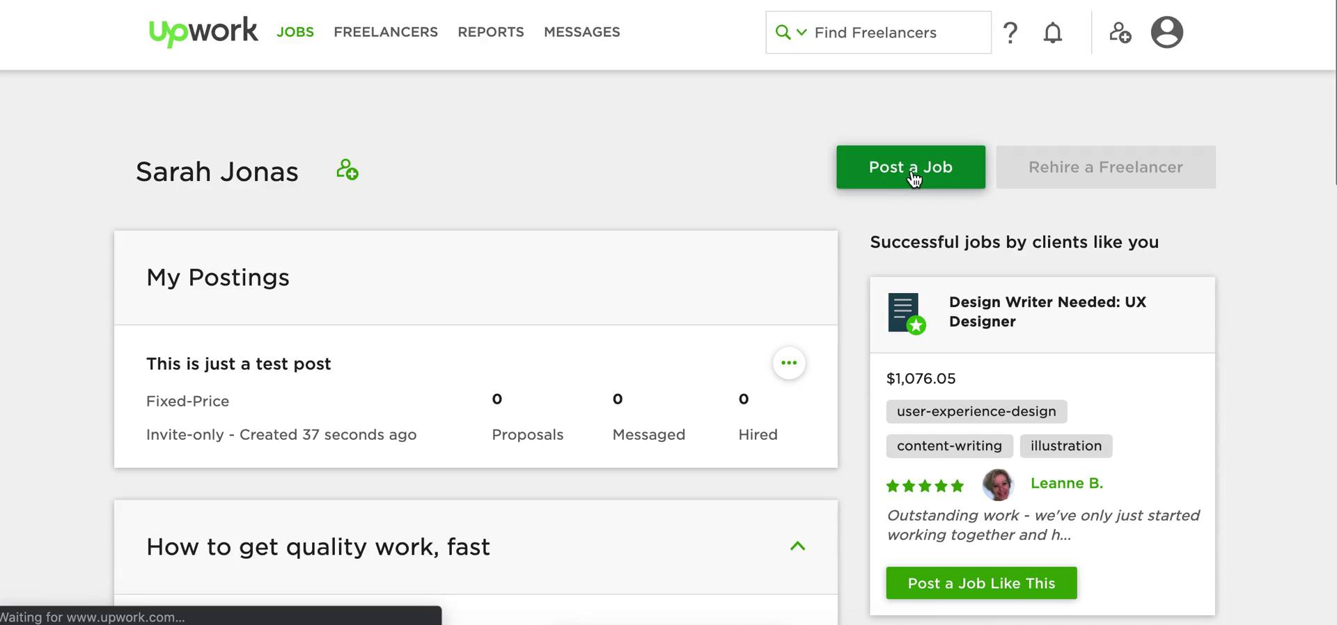 Creating a job post on Upwork video screenshot