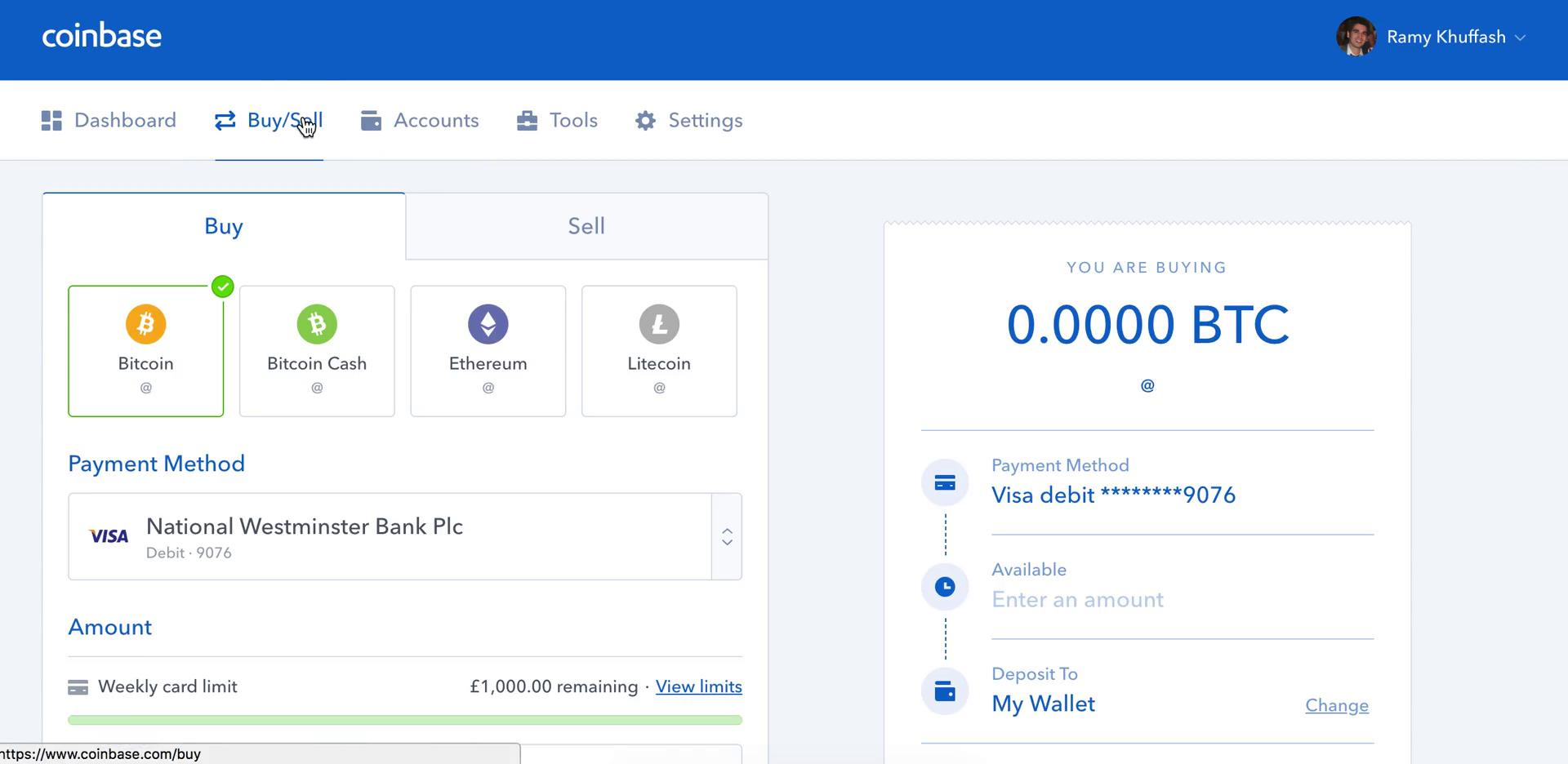 Buying something on Coinbase video screenshot