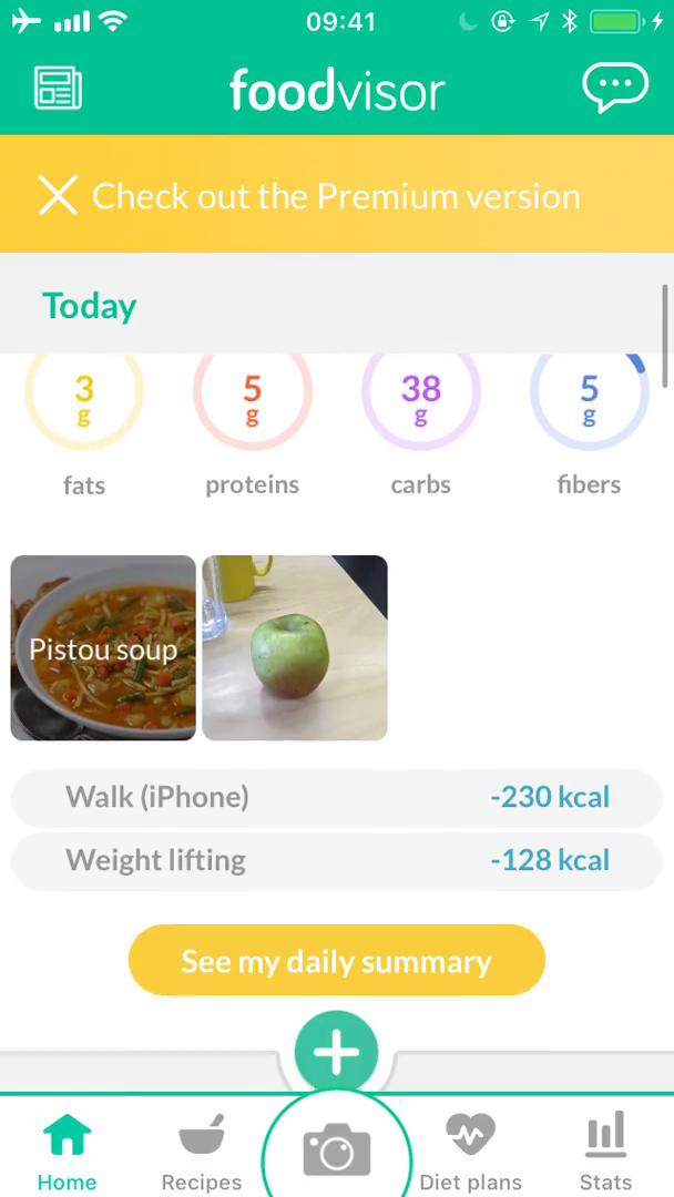 Tracking activity on Foodvisor video screenshot
